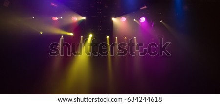 background scene, texture stage light with colored spotlights and smoke #634244618