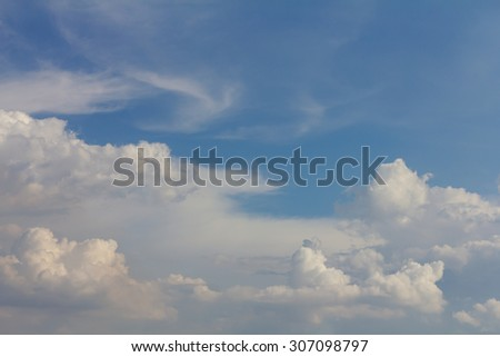Background scenery fluffy clouds gathered sunny, overcast cloudy, rain during the day. #307098797