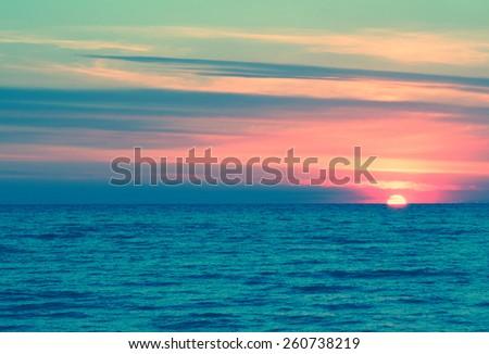 Background sea pastel evening sunset sunrise #260738219
