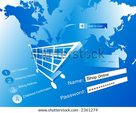 Background shopping and buying online - illustration.