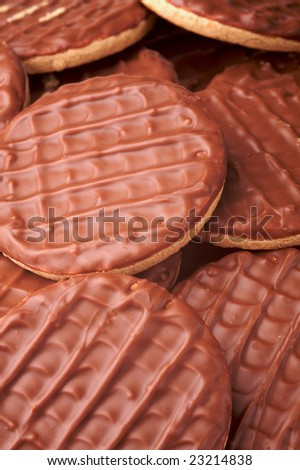 background shot of a group of chocolate biscuits