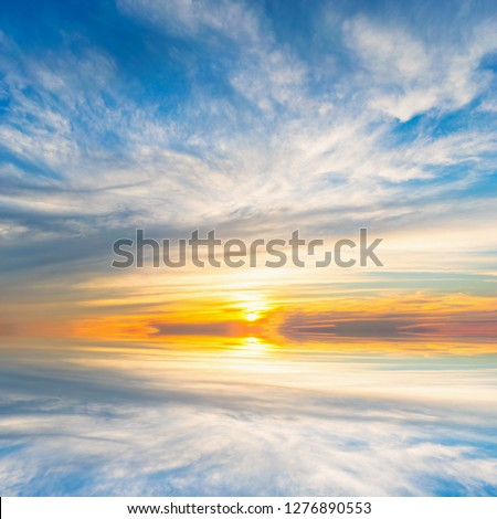 Background sky during sunset and water reflections #1276890553