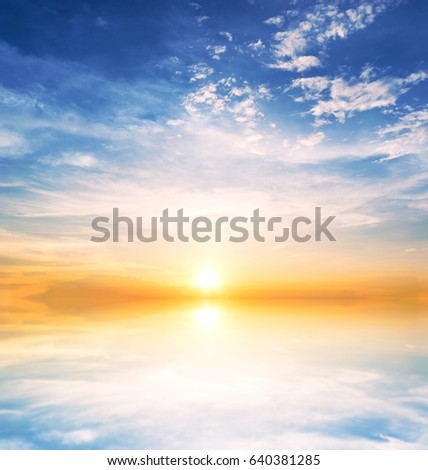 Background sky during sunset and water reflections #640381285