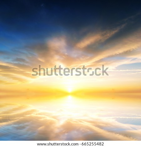 Background sky during sunset and water reflections. #665255482