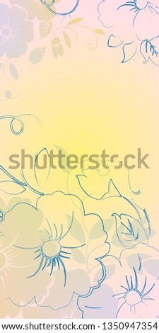 background smooth play of warm tones. linear linear spring flowers with top and bottom vertical composition.