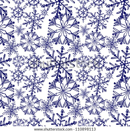 Background snowflake winter. Sketch seamless