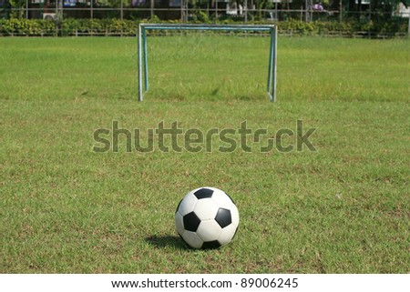 163d6872f Background: Soccer ball and small goal on the field Images and Stock ...