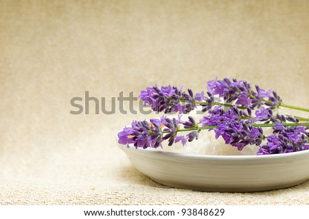 Background - Spa bath salt and lavender flowers