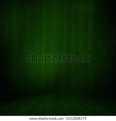 Background Studio Portrait Backdrops dark green. Illuminated by a blur of light. canvas, muslin cloth fabric template.