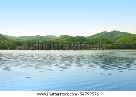 Background summer mountains landscape with blue waters and clear sky