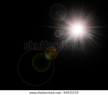Background, sun with lens flares over black space universe
