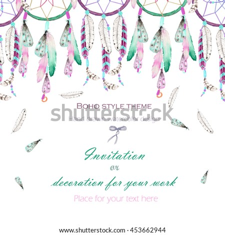 Do Dream Catchers Work Impressive Background Template Postcard With The Watercolor Dream Catchers And