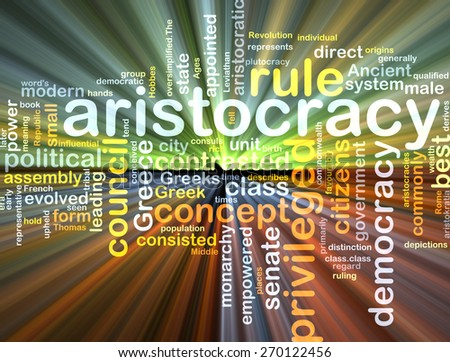 Background text pattern concept wordcloud illustration of aristocracy glowing light