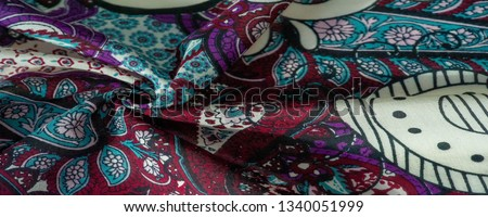 Background texture. cotton women scarf black and white pattern on one side of the scarf and color paisley pattern on the other side #1340051999