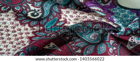 Background texture. cotton women scarf black and white pattern on one side of the scarf and color paisley pattern on the other side #1403566022