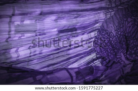 Background texture, decorative ornament, dark Lilac blue silk fabric, floral pattern, corrugation, reef, wavy, wavy, ripple, small wave or a series of waves on the surface of the fabric,