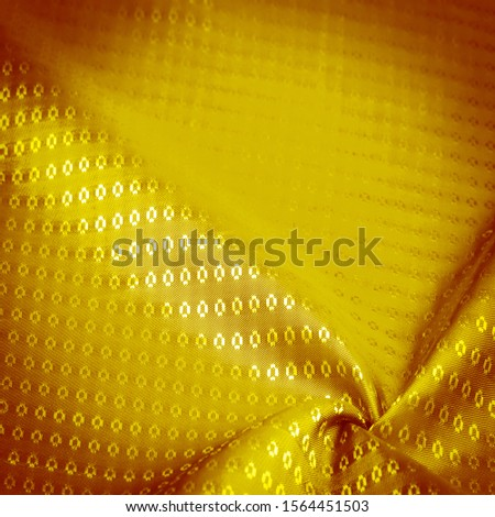 Background texture, decorative ornament, yellow gold silk fabric, with small prints, wealth, riches, richness, rich, fortune, #1564451503