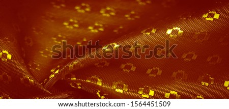 Background texture, decorative ornament, yellow gold silk fabric, with small prints, wealth, riches, richness, rich, fortune, #1564451509