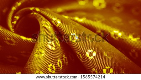 Background texture, decorative ornament, yellow gold silk fabric, with small prints, wealth, riches, richness, rich, fortune, #1565574214