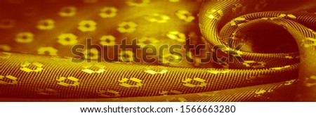 Background texture, decorative ornament, yellow gold silk fabric, with small prints, wealth, riches, richness, rich, fortune, #1566663280