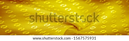 Background texture, decorative ornament, yellow gold silk fabric, with small prints, wealth, riches, richness, rich, fortune, #1567575931