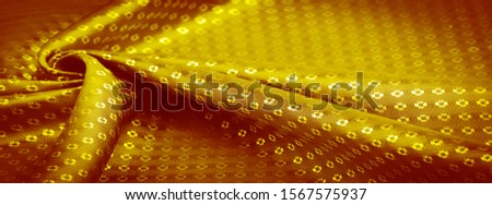 Background texture, decorative ornament, yellow gold silk fabric, with small prints, wealth, riches, richness, rich, fortune, #1567575937
