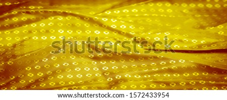 Background texture, decorative ornament, yellow gold silk fabric, with small prints, wealth, riches, richness, rich, fortune, #1572433954