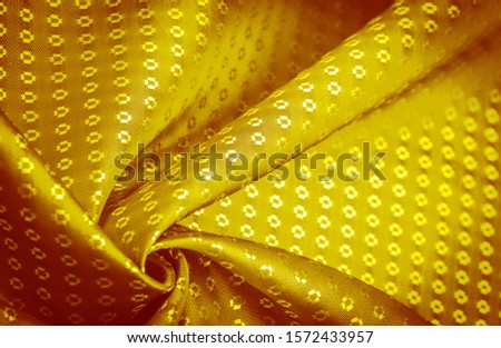 Background texture, decorative ornament, yellow gold silk fabric, with small prints, wealth, riches, richness, rich, fortune, #1572433957