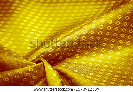 Background texture, decorative ornament, yellow gold silk fabric, with small prints, wealth, riches, richness, rich, fortune, #1573912339