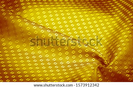 Background texture, decorative ornament, yellow gold silk fabric, with small prints, wealth, riches, richness, rich, fortune, #1573912342