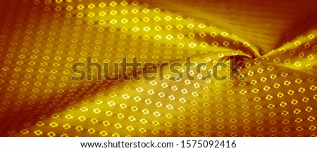 Background texture, decorative ornament, yellow gold silk fabric, with small prints, wealth, riches, richness, rich, fortune, #1575092416