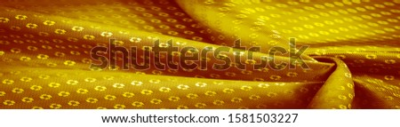 Background texture, decorative ornament, yellow gold silk fabric, with small prints, wealth, riches, richness, rich, fortune, #1581503227