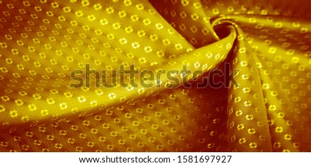 Background texture, decorative ornament, yellow gold silk fabric, with small prints, wealth, riches, richness, rich, fortune, #1581697927