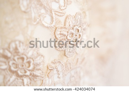 Background, texture, embroidered lace. Delicate detail of a wedding dress. Fine lace.