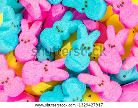 background texture-full frame of colorful marshmallow Easter peeps