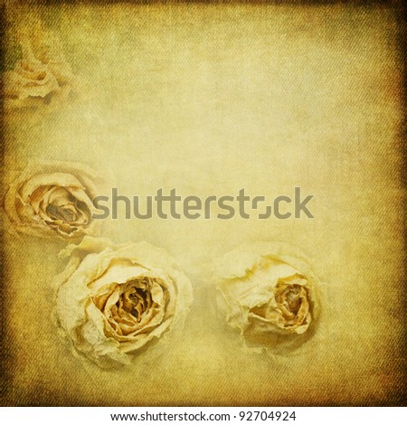 background texture in a decorative vintage look with dried roses