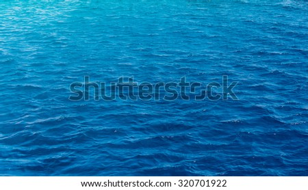 Background texture of a calm deep blue ocean with ripples on the surface of the seawater, full frame #320701922