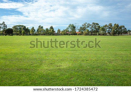 Background texture of a large public local park with green and healthy grass and with some trees and residential houses in the distance. Melbourne, VIC Australia