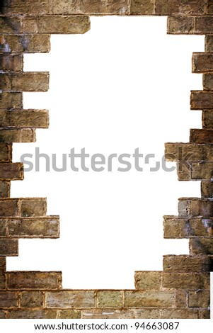 background texture of a very rough texture brick wall with a big hole in it
