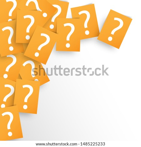 Background texture of printed question marks on orange sheets of paper scattered randomly overlapping in a full frame view