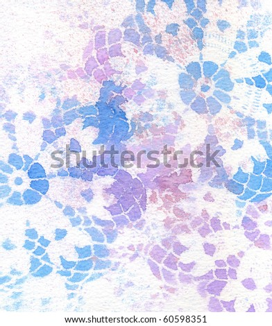 Background texture of vintage lace in blues and purple.