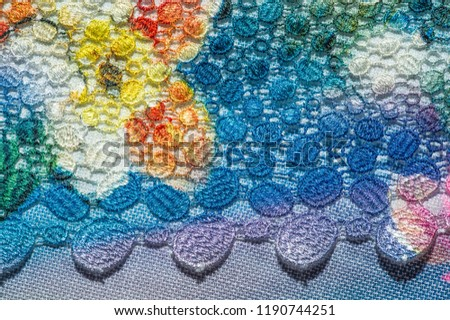 background texture; pattern. Cloth with glued lace stripes. Multicolored lace with sparkles; cording and metallic embroidery. Beautiful traditional lace for design #1190744251