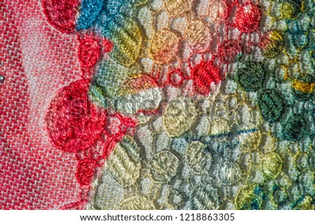 background texture; pattern. Cloth with glued lace stripes. Multicolored lace with sparkles; cording and metallic embroidery. Beautiful traditional lace for design #1218863305