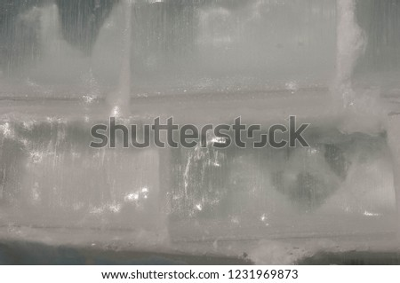 background texture pattern. Ice out of the water. abundant on the surface of the Earth - especially in the polar regions and above the snow track and as a usual form of precipitation and precipitation #1231969873