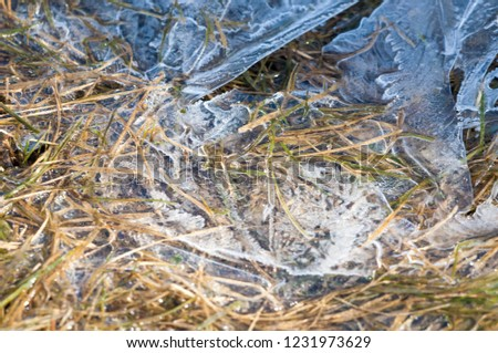 background texture pattern. Ice out of the water. abundant on the surface of the Earth - especially in the polar regions and above the snow track and as a usual form of precipitation and precipitation #1231973629
