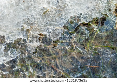 background texture pattern. Ice out of the water. abundant on the surface of the Earth - especially in the polar regions and above the snow track and as a usual form of precipitation and precipitation #1231973635