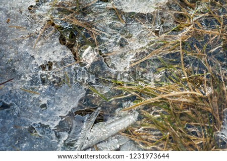 background texture pattern. Ice out of the water. abundant on the surface of the Earth - especially in the polar regions and above the snow track and as a usual form of precipitation and precipitation #1231973644
