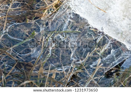background texture pattern. Ice out of the water. abundant on the surface of the Earth - especially in the polar regions and above the snow track and as a usual form of precipitation and precipitation #1231973650