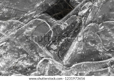 background texture pattern. Ice out of the water. abundant on the surface of the Earth - especially in the polar regions and above the snow track and as a usual form of precipitation and precipitation #1231973656