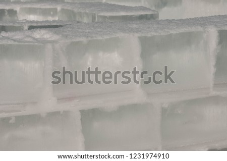 background texture pattern. Ice out of the water. abundant on the surface of the Earth - especially in the polar regions and above the snow track and as a usual form of precipitation and precipitation #1231974910